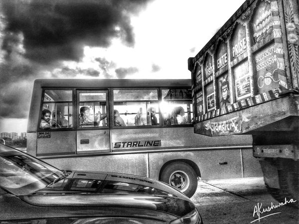 On The Road... Car Land Vehicle Transportation Mode Of Transport Cloud - Sky Day Built Structure Architecture No People Outdoors Sky Style Of Photography HDR Composition Hdr_Collection Black & White Black And White Photography HDR Black And White Hdr Blackandwhite Remiximage Heavy Hdr Work