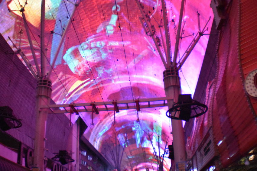 Freemont Street Experience Illuminated Hanging Multi Colored Architecture Built Structure