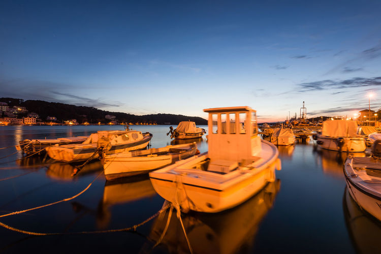 Blue Boat Boats⛵️ Croatia Harbor Losinj Nautical Vessel Outdoors Reflection Sea At Night Sky Sunset_collection The Essence Of Summer The Essence Of Summer- 2016 EyeEm Awards The Great Outdoors - 2016 EyeEm Awards Water