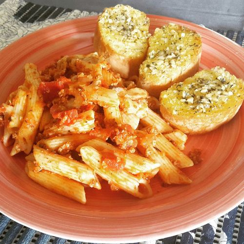 Penne Pasta and Garlic Bread