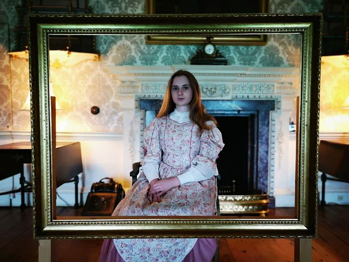 Frame Obscure Art Artistic Creepy Abstract Vintage Period Costume Hotel Mod Young Women Standing Beautiful Woman Portrait Women Doorway Luxury Hotel Inn Motel Historical Reenactment Instant Camera Front Door Ajar Hotel Room Hotel Suite Posing Entry
