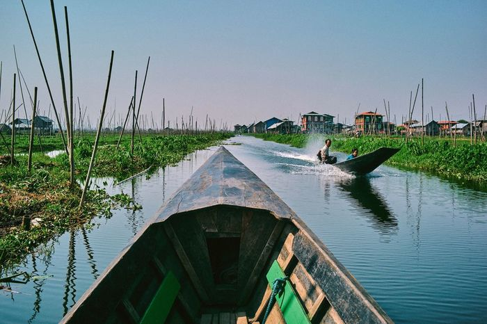 Nautical Vessel Water Transportation Outdoors Mode Of Transport Nature Day One Person Moored Lake One Man Only Clear Sky Adult Architecture Adults Only People Sky Beauty In Nature Only Men Gondola - Traditional Boat Inle Lake Myanmar Burma An Eye For Travel