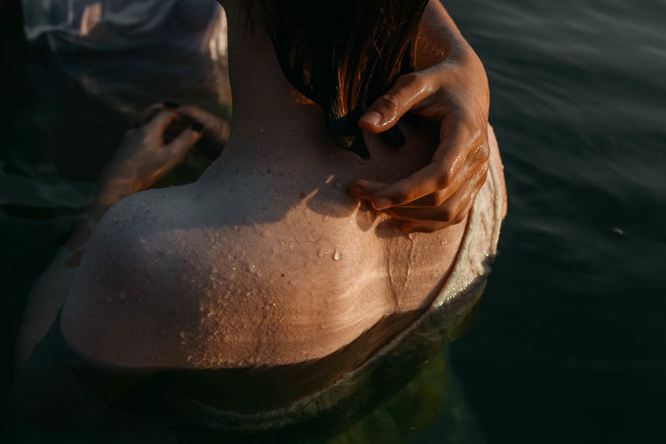 High angle view of woman in water