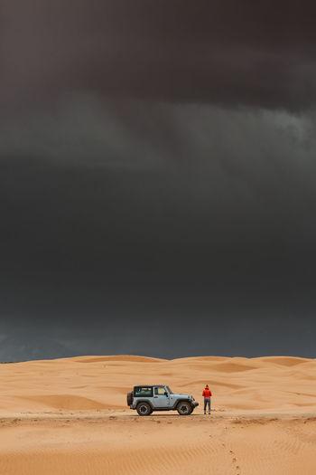 View of car on desert