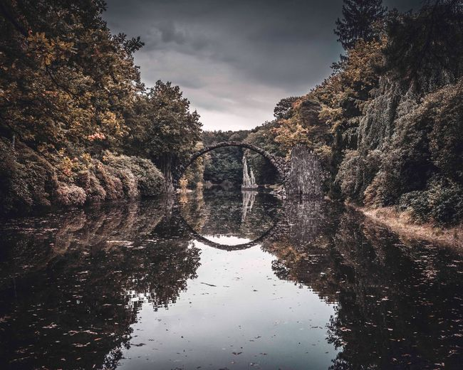 Reflection Sky Water Tree Cloud - Sky Day Nature Beauty In Nature No People Tranquility Tranquil Scene Outdoors Scenics Architecture Kromlau Rakotzbrücke Rakotzbridge Nature Beauty In Nature