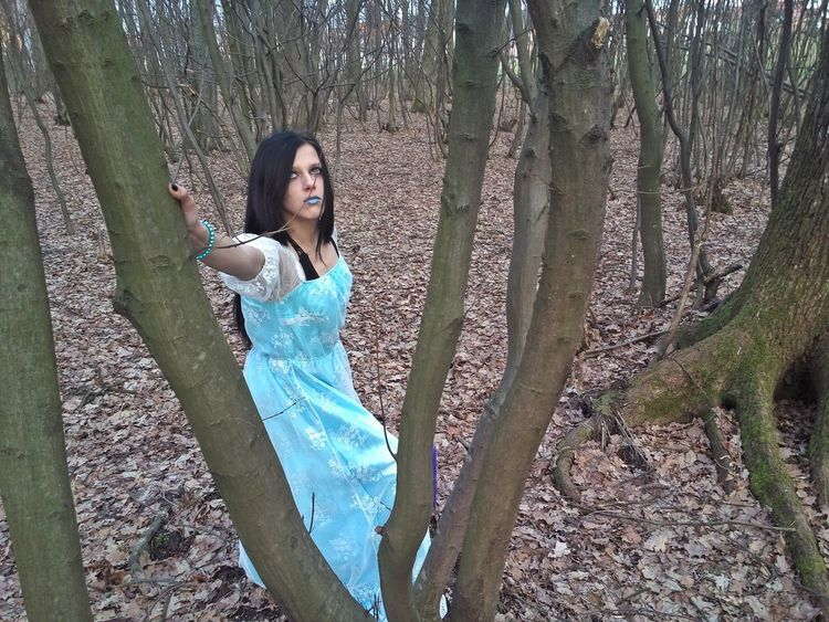 *Photographer: April Maljicki Photography* *Dress: Lunatik Shop* *Model: Merima Karahodžić* *Makeup: Oriflame* #Blue #Dress #Winter #beautiful #fashion #model #outfit #OOTD #photography #wild #witch Bare Tree Beautiful Woman Beauty Day Forest Front View Lifestyles Looking At Camera Nature Outdoors Portrait Real People Standing Tree Young Women