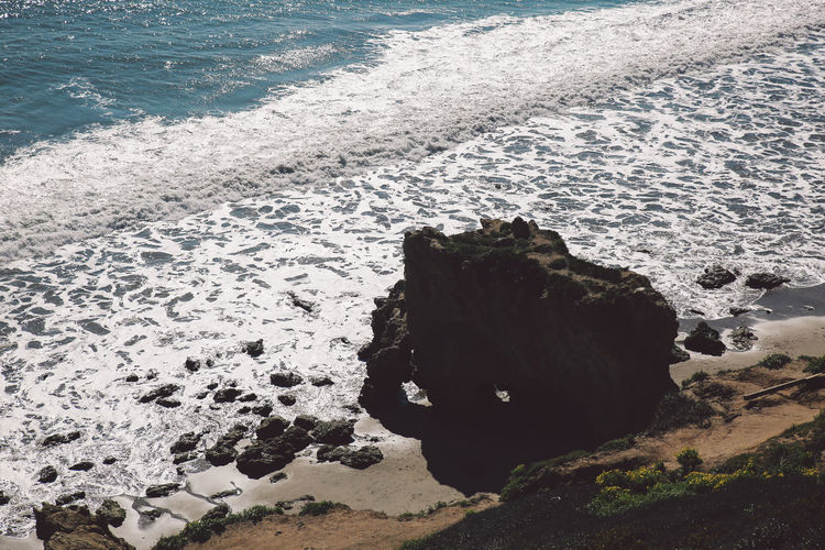 California El Matador Beach Pacific Beach Beauty In Nature Day High Angle View Motion Nature No People Ocean Outdoors Rock - Object Rock Formation Sand Scenics Sea Shore Surf Water Wave