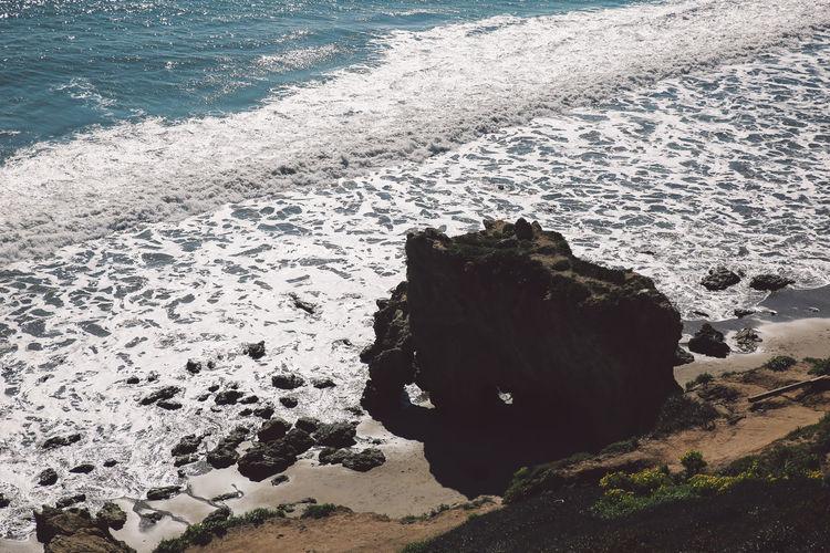 High angle view of sunny beach
