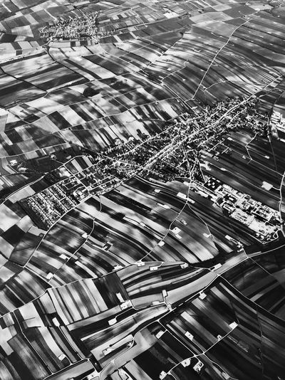 view on Austria out of the airplane Agriculture EyeEmNewHere Fieldscape Roads Stripes Aerial View Agricultural Field Black And White Day Fields High Angle View Landscape No People Pattern Striped Sunlight