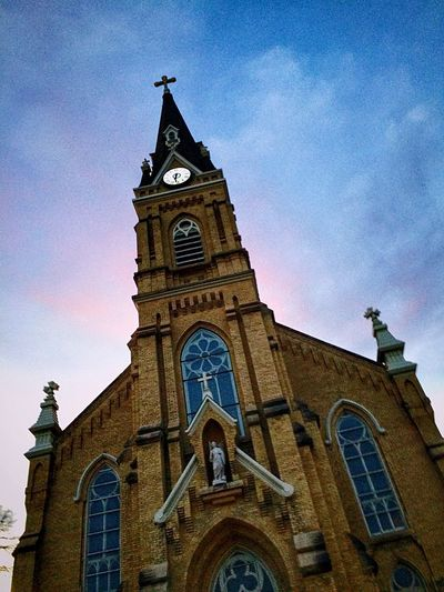 Looking Up St. Michael Minnesota Religion Place Of Worship Architecture Building Exterior Low Angle View Sky And Clouds Clouds And Sky Low Angle View Architecture Cloud - Sky Sunset Spirituality Sky Built Structure