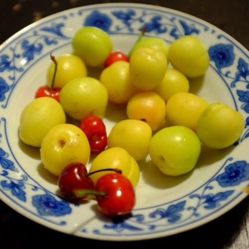 Fruit Cherry Dish Food red yellow