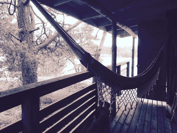 Railing No People Nature Tree Outdoors Beauty In Nature Hammock Summer Wood - Material Cabin Life Sommergefühle