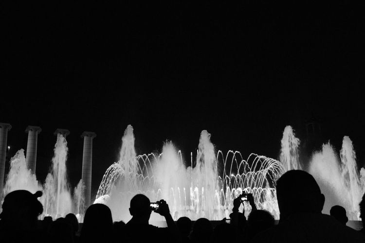 Crowd Crowded Your Ticket To Europe Fountain Magic Blackandwhite Large Group Of People Arts Culture And Entertainment Night Real People Fun Lifestyles Women Nightlife Excitement Leisure Activity Enjoyment Copy Space The Week On EyeEm Illuminated Celebration Silhouette Youth Culture Outdoors Audience