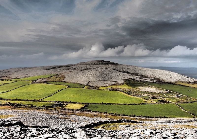 Abbey Hill The Burren Ireland Landscape Beauty In Nature Limestone Pavement Cloud - Sky EyeEm Nature Lover Hiking Landscapes Outdoors Mountain Karst Landscape Abbey Hill Fields Miles Away