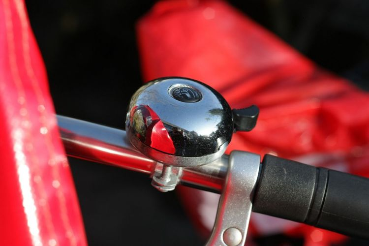 Close-Up Of Bell Attached To Bicycle