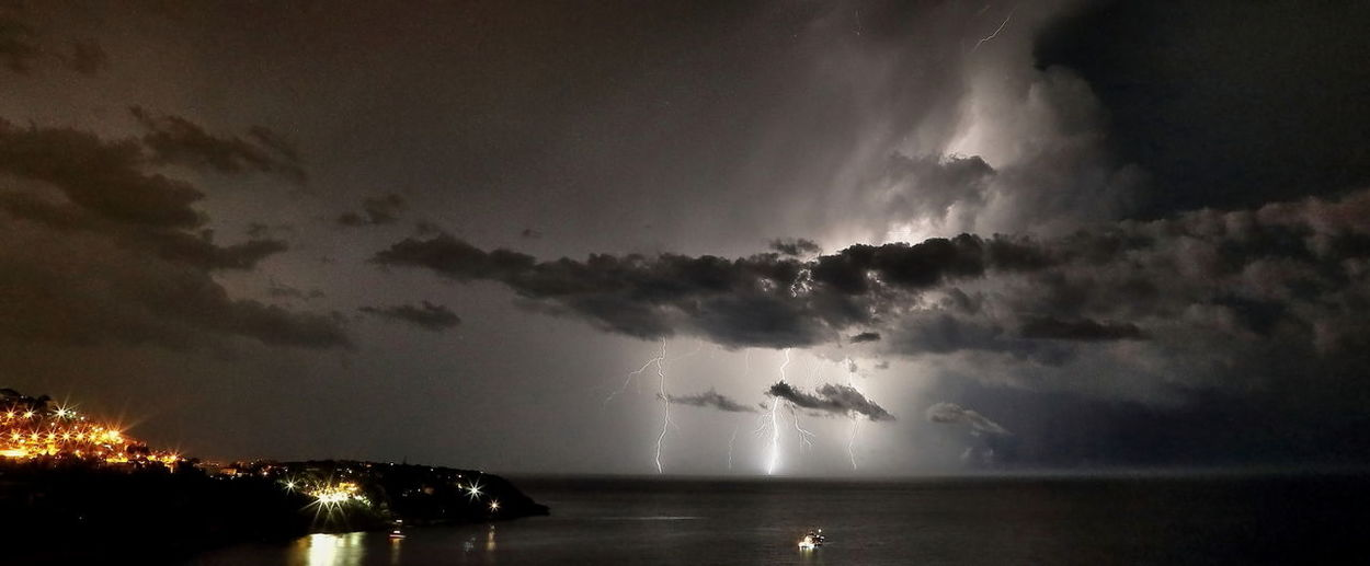 Panoramic shot lightning over sea at night