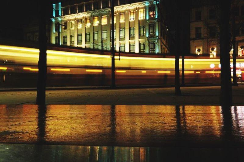 Manchester Tram Illuminated Night Reflection Outdoors City No People Scenics
