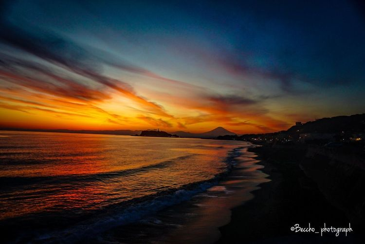 富士山 Pacific DRIVE-IN Sky Sea Sunset Cloud - Sky Beauty In Nature Beach Orange Color Reflection Water Scenics - Nature Tranquil Scene Tranquility Land Nature Idyllic Horizon Over Water Horizon Dramatic Sky No People Outdoors