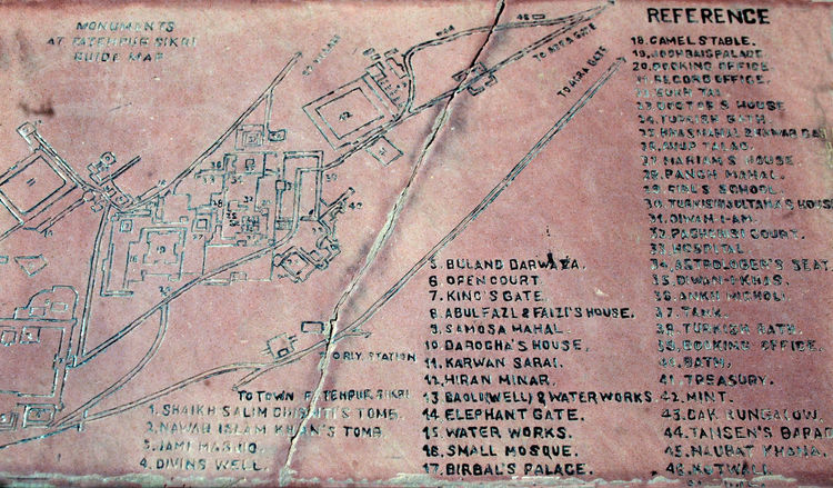 Marble slab giving information and a site map of the 'Badgir (Panch) Mahal' at Fatehpur Sikri - India Day Outdoors Map Text Science War Close-up Marble Slab No People Fatehpur Sikri Information Sign Panch Mahal Badgir Mahal Ancient Indian Palace Ancient City In India Site Map