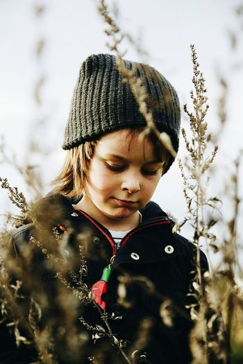 Child Winter Childhood Knit Hat Looking Down Outdoors One Person Cold Temperature Nature Day Warm Clothing Portrait Lauraloophotography Depth Of Field,
