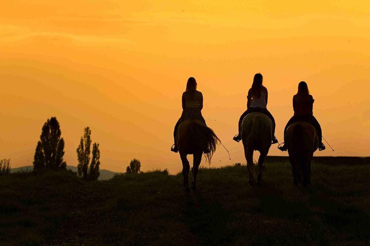 Rear view of girls riding horse on field against sky at dusk