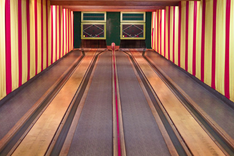 Absence Architecture Bowling Bowling Alley Bowlingnight Curtain Day Diminishing Perspective Direction Empty Indoors  Ninepins No People Pattern Railing Red Skittles Sport Striped The Way Forward Transportation Wall - Building Feature Wood Wood - Material