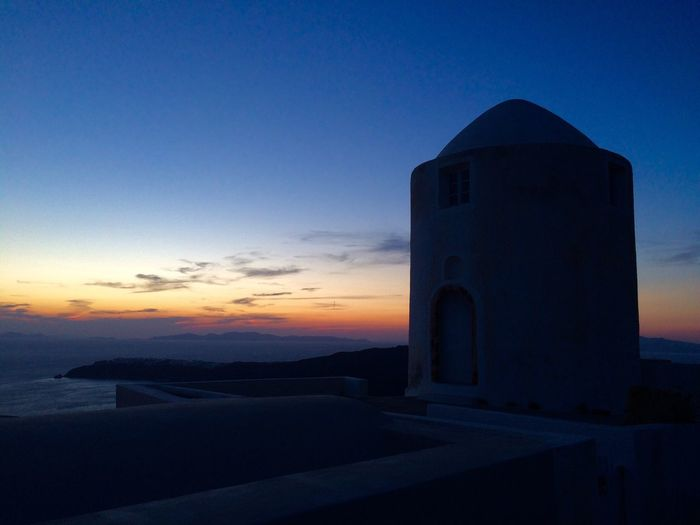 Thira Kyclades Greek Islands Santorini, Greece Sunset Windmill