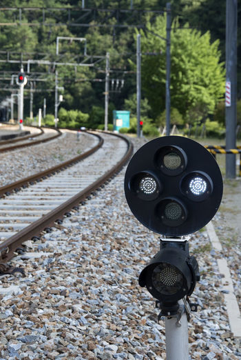 landscape of Seungbu Railroad Station in Bonghwa, Gyeongbuk, South Korea Bonghwa In Korea Seungbu Station Signal Close-up Day Focus On Foreground No People Outdoors Rail Transportation Railroad Railroad Signals Railroad Station Railroad Track Railway Technology Tree