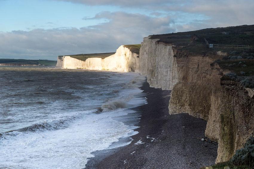 Birling Gap Cliffs Light And Dark Ocean Rock Formation Sea Sussex Coast Winter