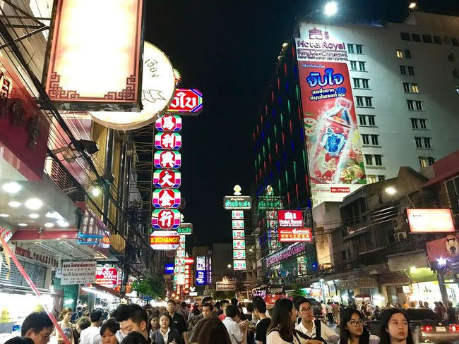 Large Group Of People Illuminated Night Architecture Crowd Built Structure Building Exterior Women Men Real People City Lifestyles Modern Neon Outdoors Sky People Adult Backgrounds EmeEmPhoto ChainaTown