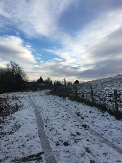 Today In Scotland Snow Weather White Cold Temperature Covering Outdoors Day No People Landscape The Way Forward Diminishing Perspective Winter Season  Beauty In Nature Winter Day Countryside Blue Sky Bare Tree Snow Covered Remote Tranquil Scene