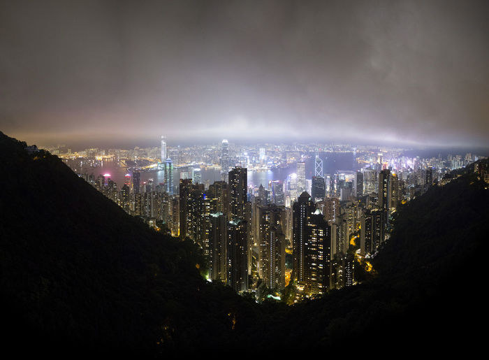 Hong Kong HongKong Architecture Building Building Exterior Built Structure City City Life Cityscape Cloud - Sky High Angle View Illuminated Landscape Modern Nature Night No People Office Building Exterior Outdoors Residential District Sky Skyscraper Travel Destinations Urban Skyline