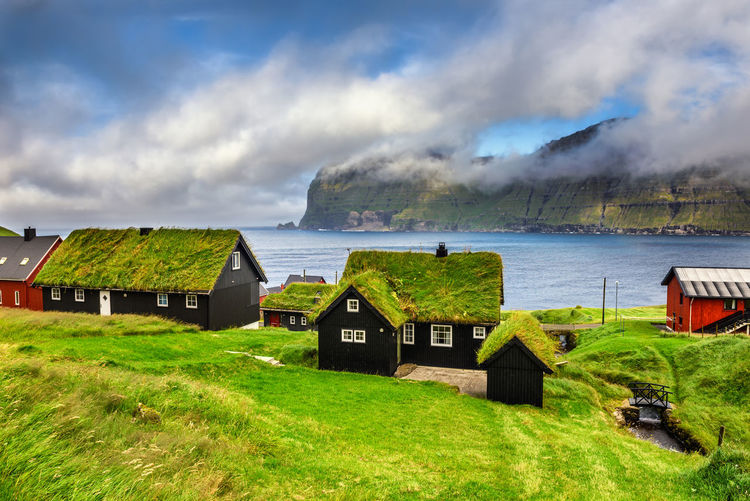 Houses on field by sea against sky