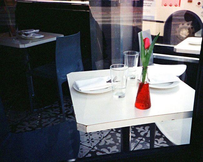 Table Tablecloth Indoors  Leica M6 Koduckgirl F2/400 Trattoria Pinnochio Cafés North Beach Film Italian Restaurant