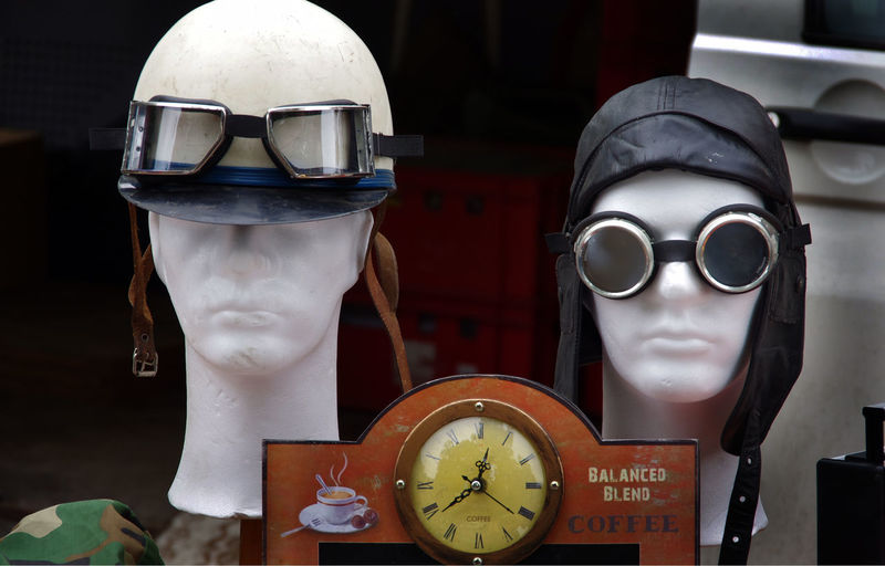 Close-up of mannequins with helmet