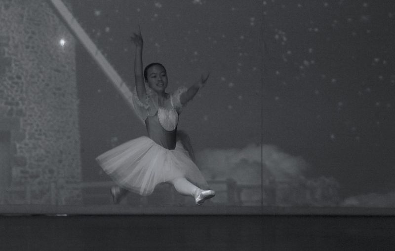 Full length of ballerina performing on stage