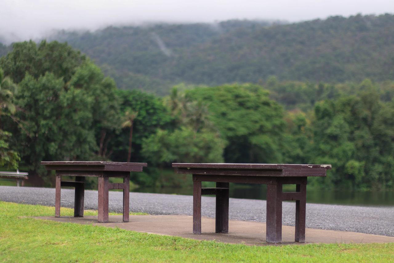 Gazebo On Landscape Against Mountains