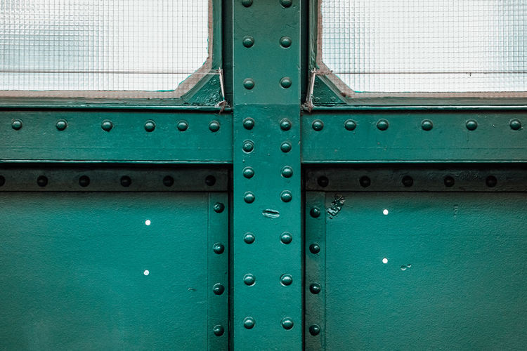 Green Color Waiting Bridge - Man Made Structure Building Exterior Built Structure Glass - Material Iron - Metal Platform Riveted Rivets Train Station Window