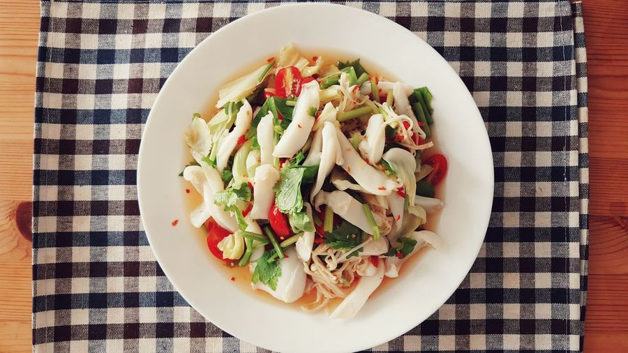 Thai Spicy Squid Salad - Food Freshness Top View Vegetable Pepper Eat Food And Drink Fresh Eating Healthy Seafood Spicyfood Tomato Herbal Launch Meal Delicious Leaf Thailand EyeEm Best Shots EyeEm Gallery Food Stories
