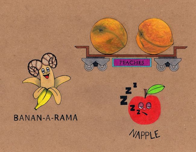 I Made these little illustrations on brown bag paper 8.5 in x 11 in Bananarama Napple Art Taking Photos Beautiful Fruit