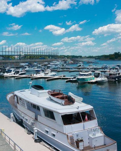 Boats docked at