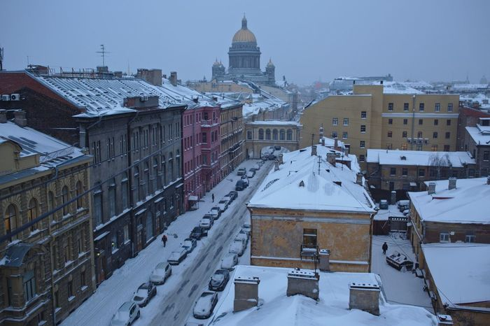 Snowfall over Saint Petersburg. View from above. City City Center Isaac's Cathedral Roof Top Roofs Rooftop Rooftop View  Russia Saint Petersburg Snow Snowfall Top Perspective White Window Winter