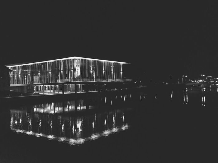 Night Lights over City Library (Halmstadsbibliotek) Sweden EyeEm City Shots Blackandwhite