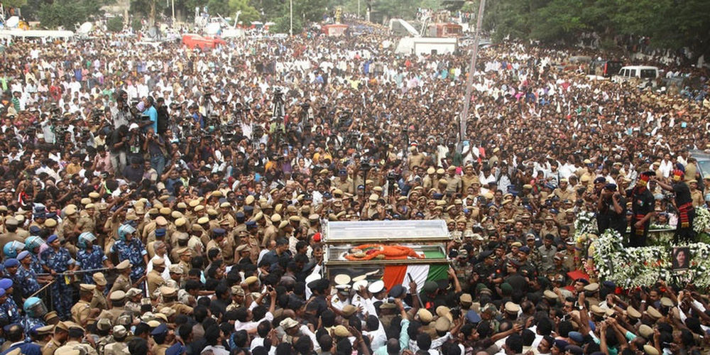 THIS IS THE FUNERAL PROCESSION OF CHIEF MINISTER OF TAMIL NADU STATE. Large Group Of People