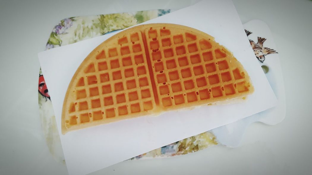 Eating Snack Time! American Waffle Apple Jam Syrup Hungry