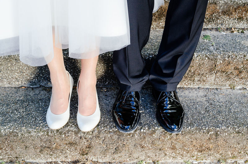 Adult Adults Only Bride Close-up Couple Day Elegance And Class Elegant Getting Married Groom Human Body Part Human Leg Love Low Section People Shoe Standing Togetherness Wedding Women