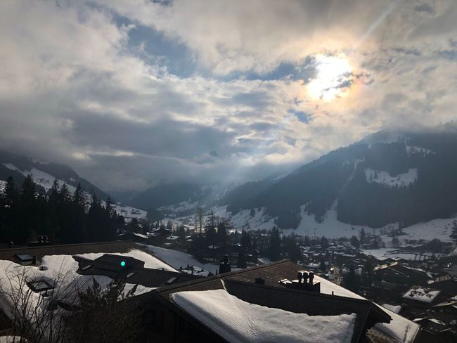 The sun trying to shine I❤️Gstaad Bolonie Style Bolonie Art Bolonie Mountain Snow Cold Temperature Winter Weather Mountain Range Cloud - Sky Nature Landscape Beauty In Nature Sky Building Exterior Scenics No People Travel Destinations Outdoors Day Architecture City