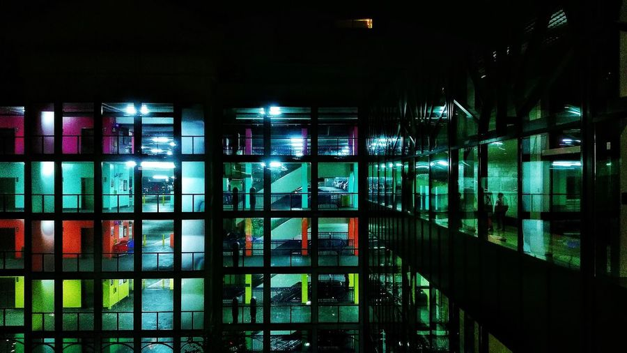 View of illuminated office building
