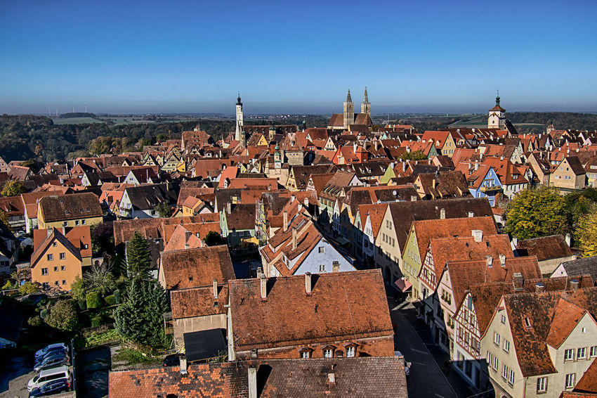 Architecture Architecture_collection Bavaria Colourful Deutschland Rooftop Architecture Cityscape Crowded Europe Germany High Angle View Medieval Old Town Outdoors Roof Rooftop View  Rothenburg Ob Der Tauber Sushine Town Travel Destinations Wide Angle