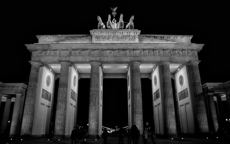 Architectural Column Architecture Branderburgertor Building Exterior Built Structure City City Gate Discover Berlin History Illuminated Low Angle View Monument Night No People Outdoors Sculpture Sky Statue Tourism Travel Travel Destinations Triumphal Arch